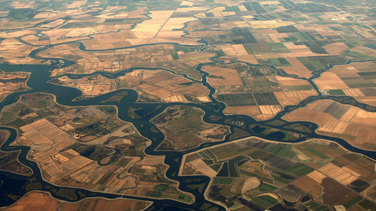 A view of the vast, squiggly, meandering rivers which comprise the Sacramento and San Joaquin River Delta. https://www.flickr.com/photos/formulanone/17306074771