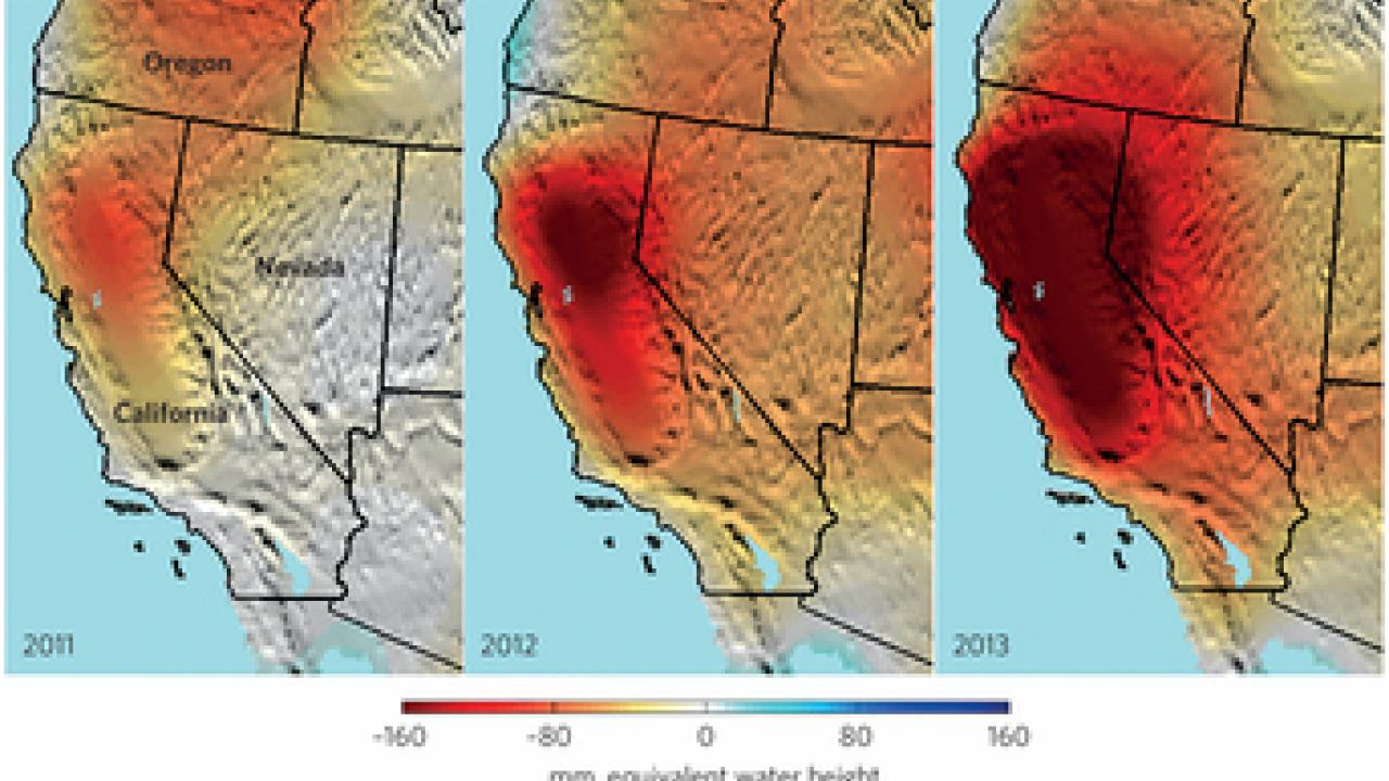 2011, 2012, 2013 changes in water height in California